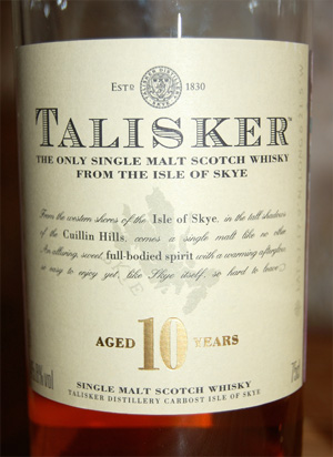 Talisker Single Malt Scotch 10yo Whisky