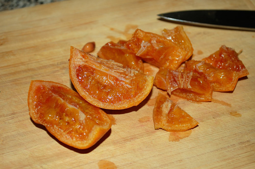 Orange marmalade, cutting boiled oranges