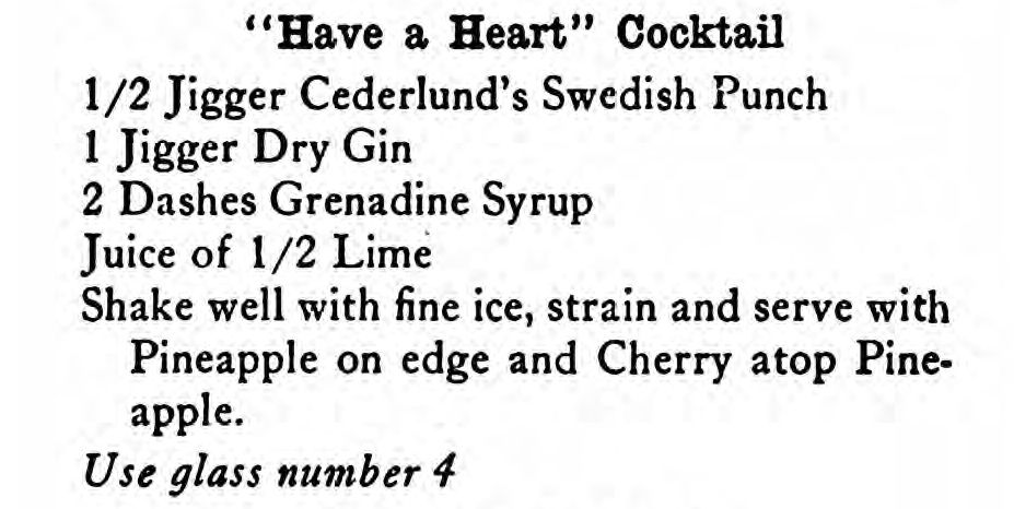 Have A Heart Cocktail original recipe